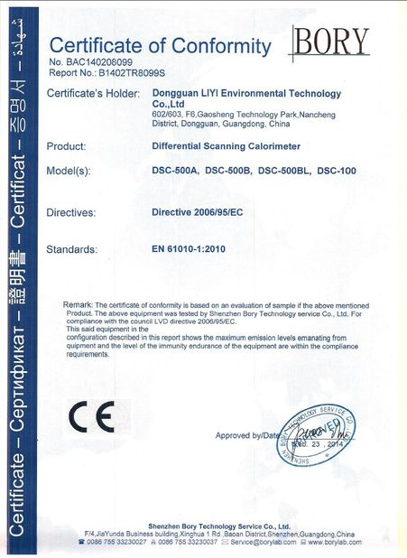 China Dongguan Liyi Environmental Technology Co., Ltd. Certificaciones